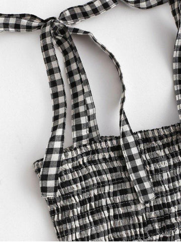 Smocked Plaid Tied Straps Mini Dress