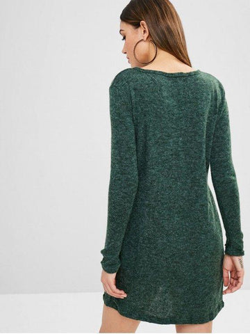Solid Color Mini Sweater Dress