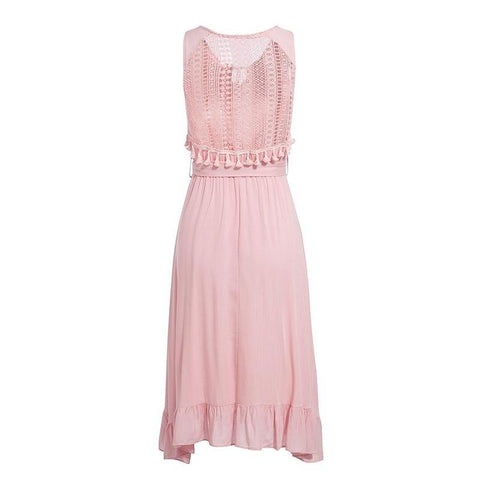 Solid Pink Embroidery Summer Dress