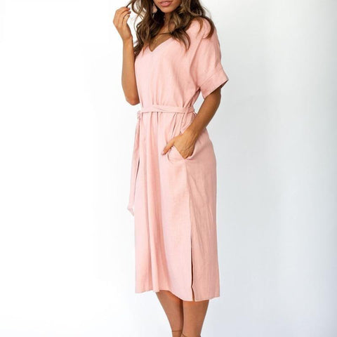 Solid cotton linen  sashes dress