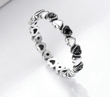 Stackable Ring Heart Black CZ Finger Ring