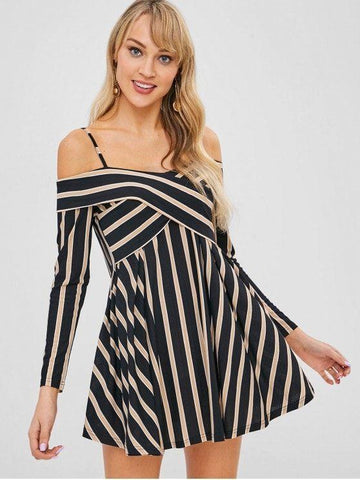 Striped Cold Shoulder Crisscross Skater Dress
