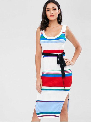 Striped Knit Tank Dress