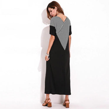 Summer Short Sleeve Loose Black Maxi Shift T-shirt Dress