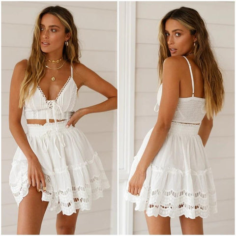 Summer lace embroidery white skirt