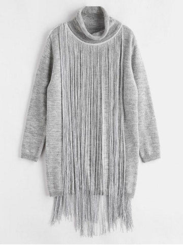 Turtleneck Fringe Sweater Dress