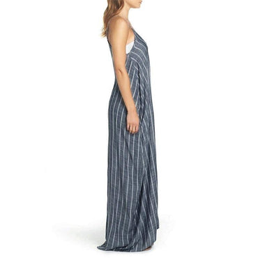 V Neck Loose Cotton Linen  Striped Maxi Long Dress
