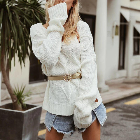 V Neck Vintage Thick Oversized Sweater
