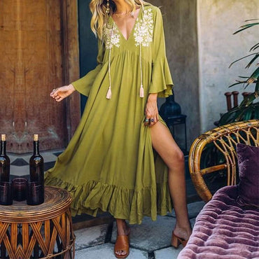 V neck Split Hem Floral Printed Ruffles Long Flare Sleeve Bohemian Sundress