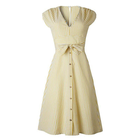 Vintage Stripe Print Sash Tie Up Midi Dress