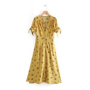Vintage V Neck women Retro Yellow Floral Print Chiffon midi dress