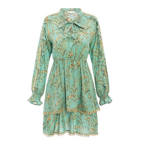Vintage boho floral print ruffled multi-layer mini dress