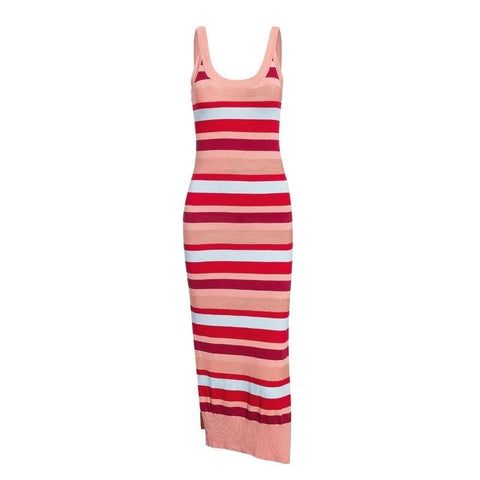 Vintage rainbow striped knitted Spaghetti straps midi dress