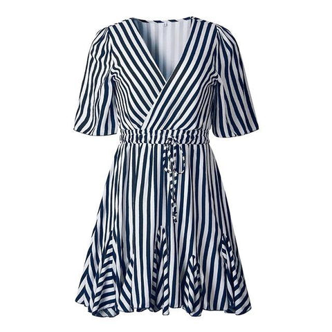 Vintage striped  V neck ruffle cotton short summer dress