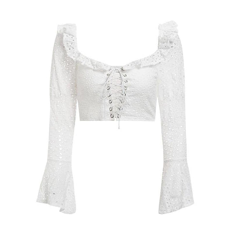 Vintage white sexy backless square collar criss ruffles crop top