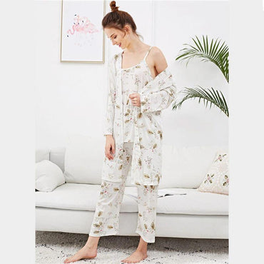 White Leaf Print Cami Pajama Set