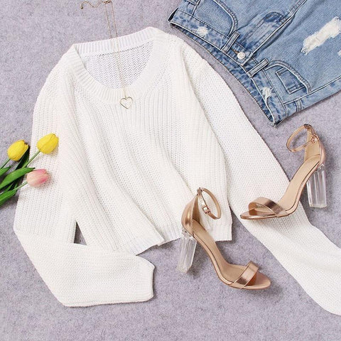 White Loose Fit Crop Jumper Sweater