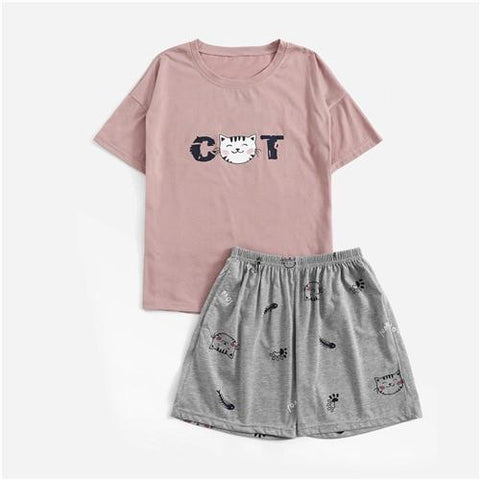 Round Neck Print Cartoon Top And Bow Front Shorts Pajama Set
