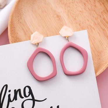 Sweet Irregular Hit Color Geometric Acrylic Long Big Drop Earrings