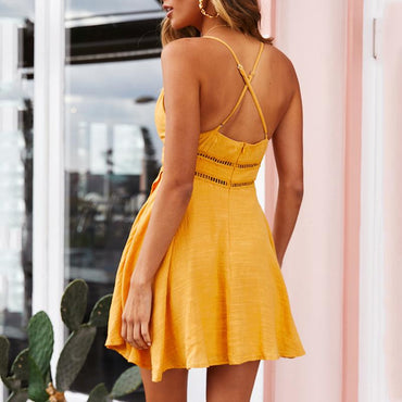 Cotton Spaghetti Strap Sexy Yellow V Neck Ruffles Mini Dress
