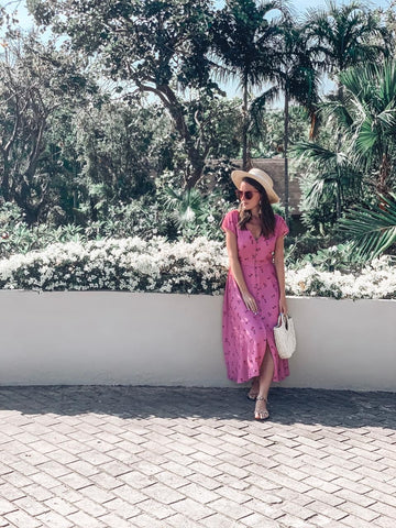 Pink Vacation A-Line Pleated Maxi Dress