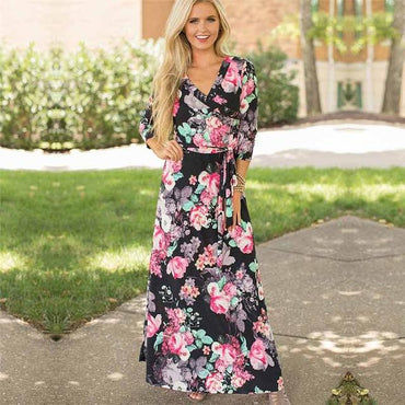 Floral Print Boho Style Long Maxi Dress