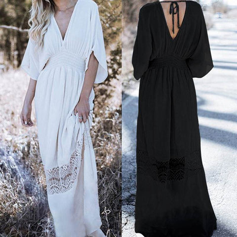 Bohemian Sexy V Neck Elastic Waist Lace Patchwork Maxi Long