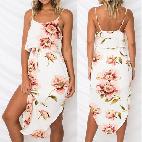 Strappy Drawstring Ruffle Dress