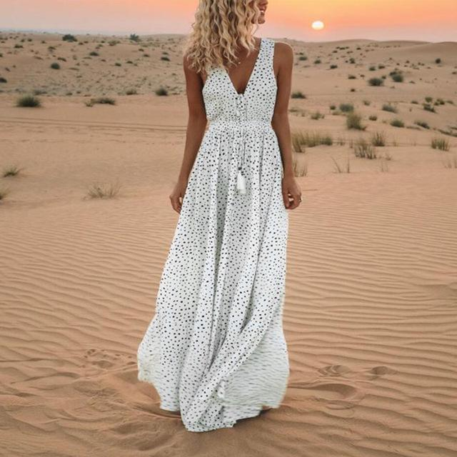 Boho Sleeveless Dot Print Tassels Deep V Neck Long Maxi Dress