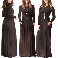 Casual Elegant Solid O-neck Long Sleeve Long Maxi Dress