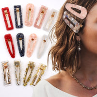 Acrylic Hollow Water drop Rectangle Tin Foil Sequins Hairpins
