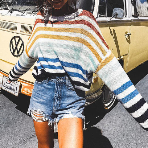 Rainbow Stripe Loose Oversize Sweater