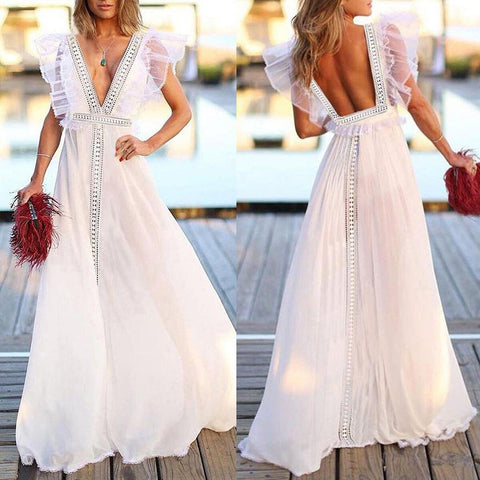 Solid Formal Wedding Deep V-Neck Lace Evening Party Ball Prom Long Dress