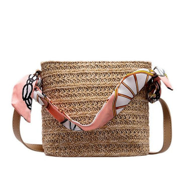 Hand-Woven Rattan Straw Purse Wicker Crossbody Bag