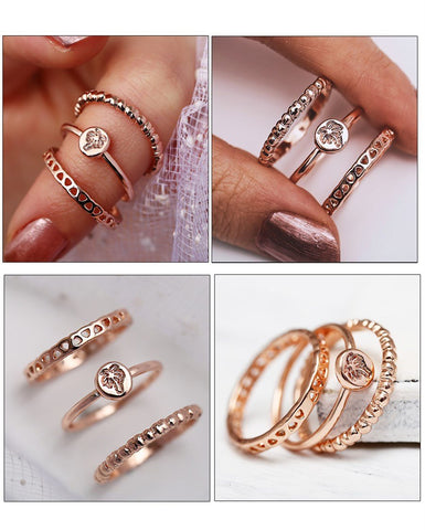 3Pcs/Set Geometry Intersect Crystal Rings Set