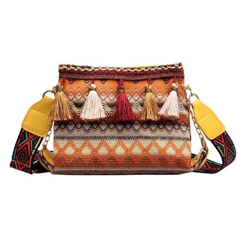 Ethnic Creative Folk Bucket Cylindrical Straw Barrel Tassels Woven Handbags
