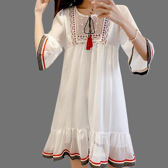 Chiffon Embroidery Vintage Ladies Tunics Robe A-line Flare Sleeve Dress
