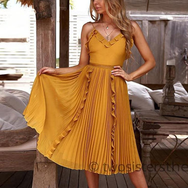 Sexy V Neck Sleeveless Sling Backless Elegant Ruffles Dress