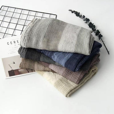Cotton And Linen Striped Plaid Bubble long men scarf