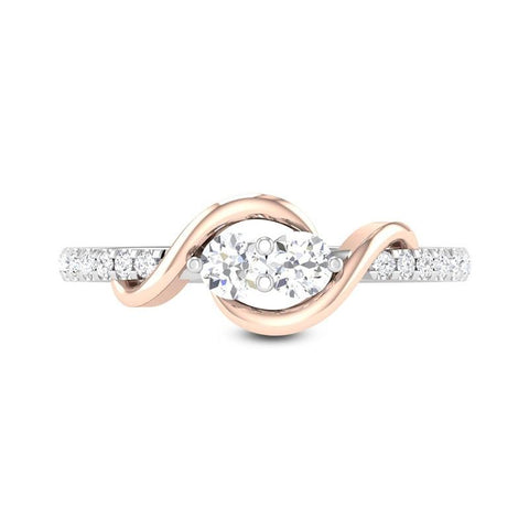 Rose Gold and Silver Color Cubic Zirconia Ring