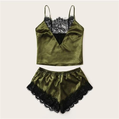 Army Green Eyelash Lace Satin Cami PJ Set