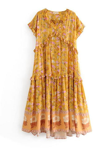 Wide Bloom Floral Printed Ruffle Trim Chic Loose Dress