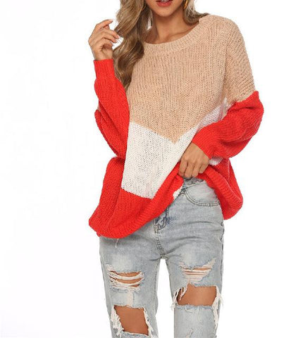 Pullover jumpers knitted clothes Stitching loose knitting sweater