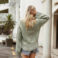 Long Sleeve Green Pullover Vintage Casual Oversized Sweater