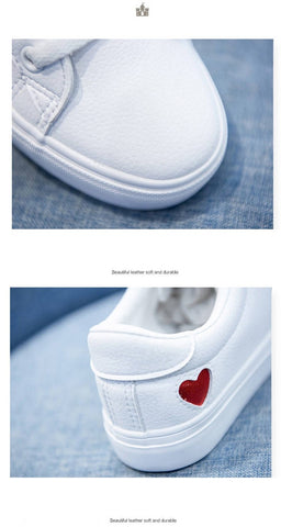 Canvas Casual Flats Heart Lace-up Fashion Ladies Shoes
