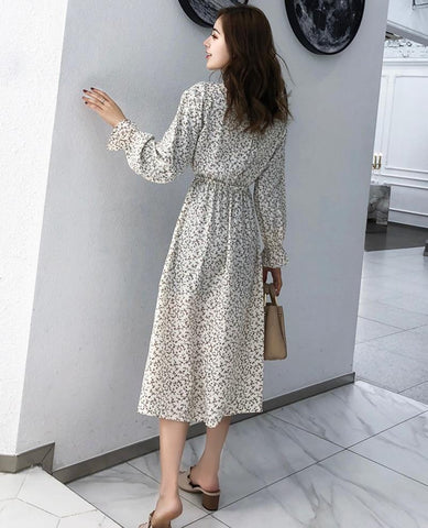 Elegant Stand Collar Polka Dot Chiffon Dress