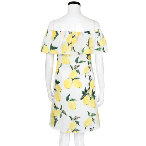 Casual Slash neck Fruit Lemon Print short dress