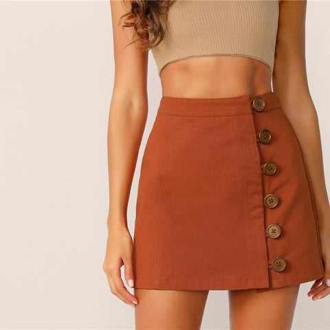 Button Front Style Brown High Waist A Line Skirt