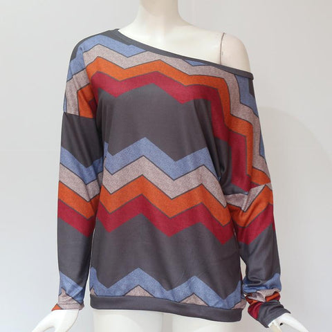 Blouses Off Shoulder Striped Print Pullover Jumper Casual Knitted Top
