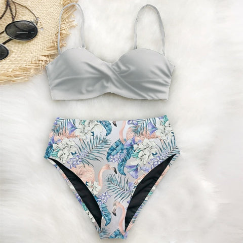 Swimwear Vintage High Neck Bikini Set